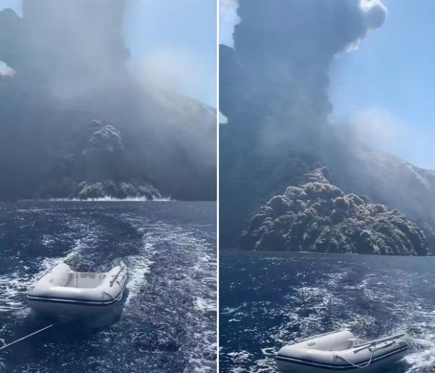 Stromboli vulkán kitörés hajó menekülés
