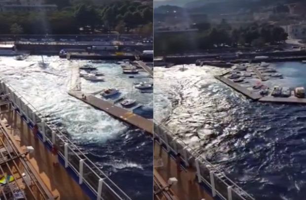 Messina kikötő óceánjáró rombolás