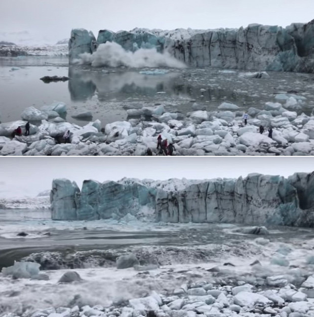 izland gleccser jég hasadás zuhan turisták