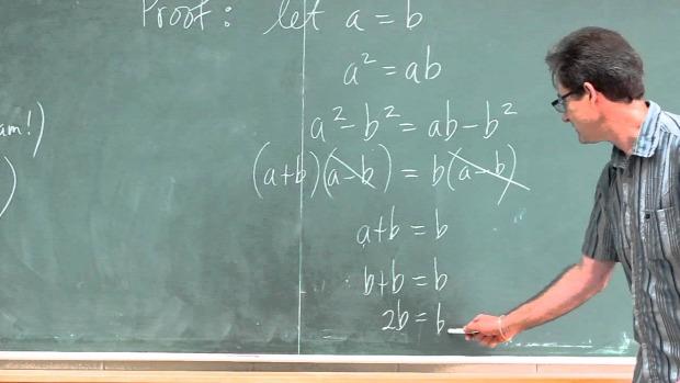matek tanár hibás levezetés 1=2