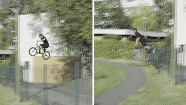 bringa BMX kerékpár ugrás kerítés esés