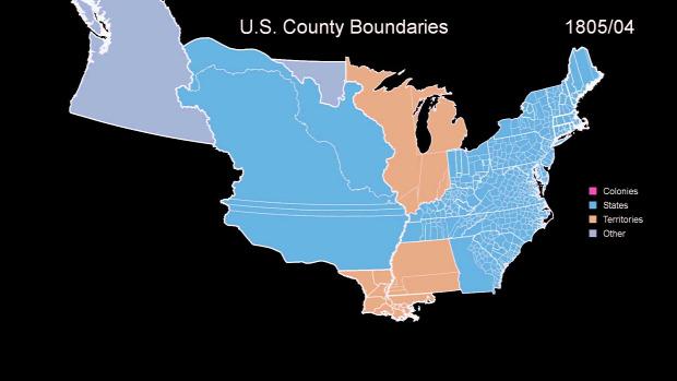 USA gyarmatok határ