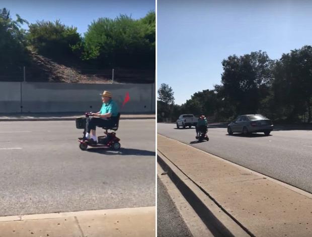 autópálya öregember nagypapa scooter roller motoros szék