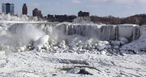 Niagara  vízesés drón tél jég