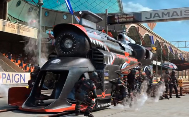 animáció steampunk gőz mozdony verseny