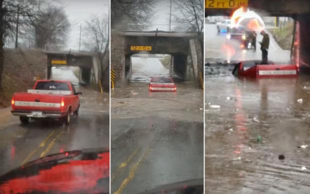 víz aluljáró autó elsüllyed úszik
