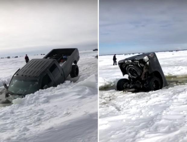 tó autó jég elsüllyed elmerül pick-up