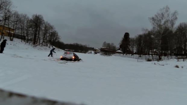 jég autó tó beszakad