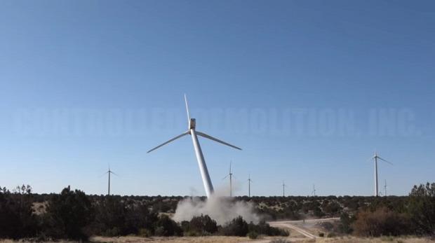 szélturbina erőmű farm rombolás robbantás ledöntés