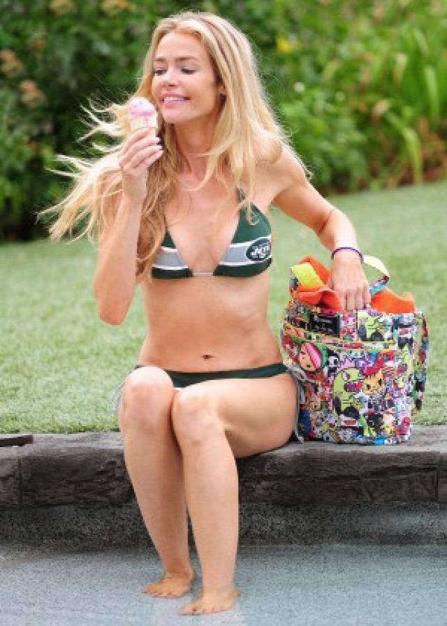Denise Richards in Bikini at a pool in LA